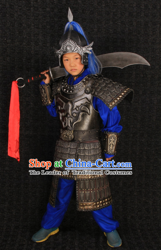 Top Chinese Ancient General Body Armor Costumes and Helmet Complete Set for Children Kids