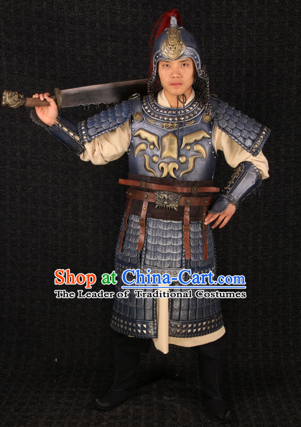 Top Chinese Ancient General Body Armor Costumes and Helmet Complete Set for Men