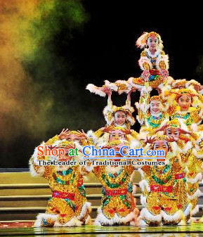 Chinese Stage Performance Lion Dancing Costumes Complete Set for Kids