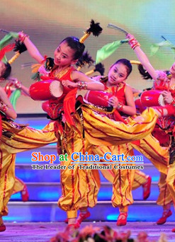 Chinese Stage Performance Drum Dance Costumes Complete Set for Kids