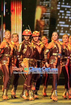 Chinese Stage Performance Worker Dance Costumes Complete Set for Men and Women
