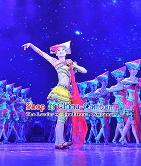 Chinese Stage Performance Ethnic Dance Costumes Complete Set for Women
