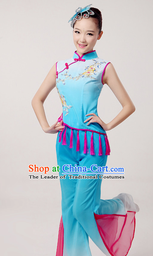 Traditional Chinese Dance Costumes Cloth China Attire Oriental Dresses Complete Set for Women