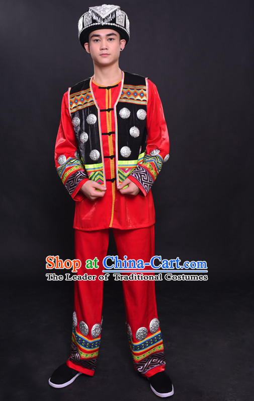 Chinese Hmong Nationality Folk Dance Ethnic Wear China Clothing Costume Ethnic Dresses Cultural Dances Costumes Complete Set for Men Boys