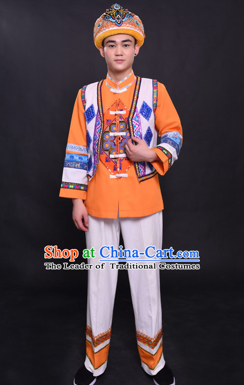 Chinese She Nationality Folk Dance Ethnic Wear China Clothing Costume Ethnic Dresses Cultural Dances Costumes Complete Set for Men Boys