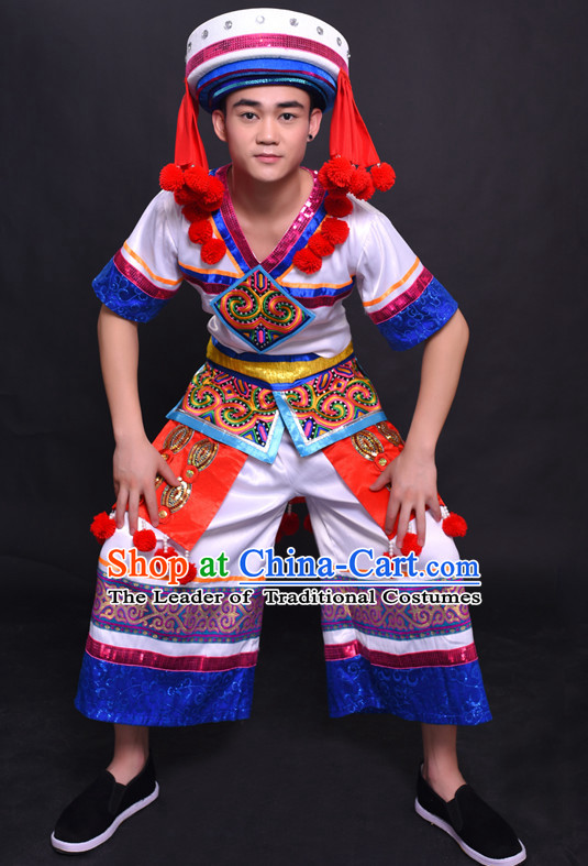Chinese Yao Nationality Folk Dance Ethnic Wear China Clothing Costume Ethnic Dresses Cultural Dances Costumes Complete Set for Men Boys