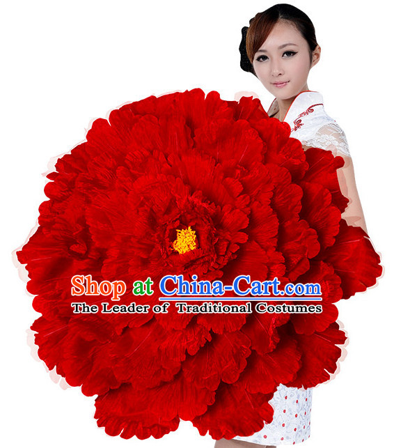 Red Traditional Dance Peony Umbrella Props Flower Umbrellas Dancing Prop Decorations
