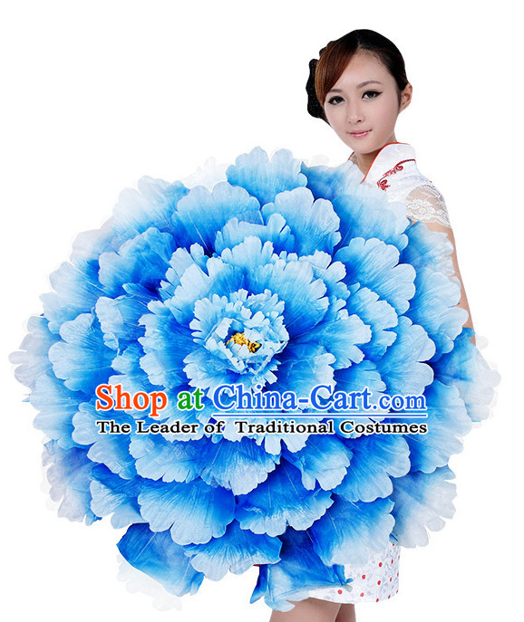 Light Blue Traditional Dance Peony Umbrella Props Flower Umbrellas Dancing Prop Decorations
