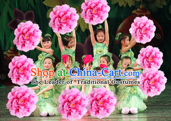 Traditional Dance Peony Umbrella Props Flower Umbrellas Dancing Prop Decorations for Kids Children