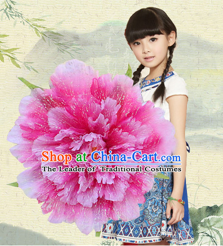 Traditional Dance Peony Umbrella Props Flower Umbrellas Dancing Prop Decorations for Kids Children Girls Boys