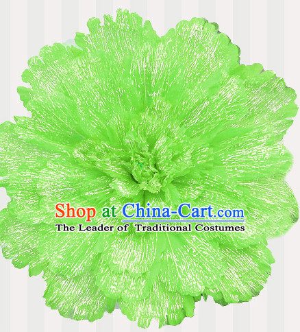Green Traditional Dance Peony Umbrella Props Flower Umbrellas Dancing Prop Decorations for Kids Children Girls Boys