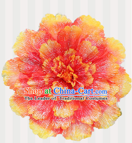 Orange Traditional Dance Peony Umbrella Props Flower Umbrellas Dancing Prop Decorations for Kids Children Girls Boys