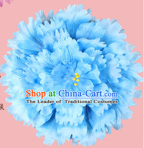 Blue Traditional Dance Peony Umbrella Props Flower Umbrellas Dancing Prop Decorations for Kids Children Girls Boys