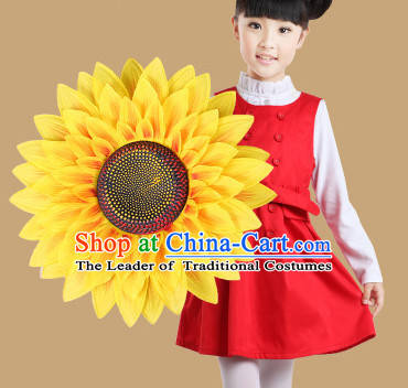 Traditional Dance Sunflower Props Flower Umbrellas Dancing Prop Decorations for Kids Children Girls Boys