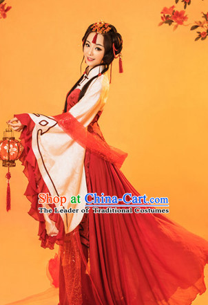 Chinese Traditional Mandarin Dress Clothing Hanfu National Costumes China Gown Wear and Hair Accessories Complete Set