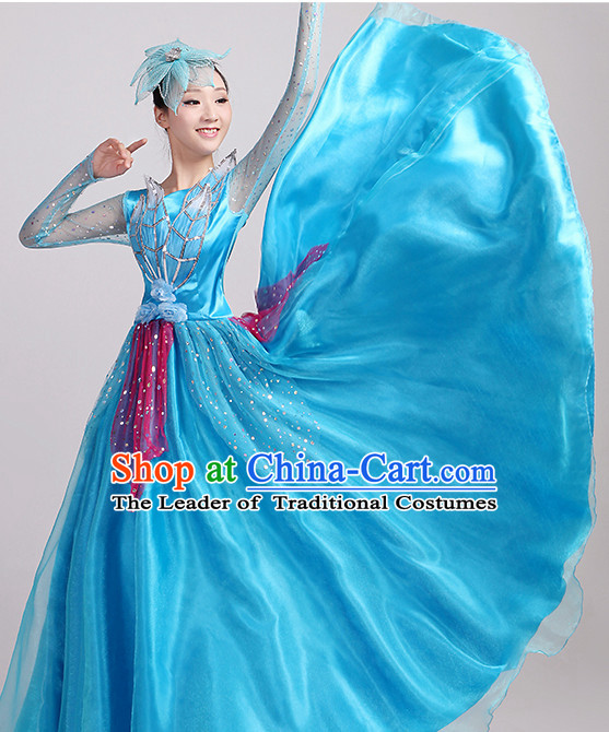 Blue Chinese Dance costume Dance Classes Uniforms Folk Dance Traditional Cultural Dance Costumes Complete Set