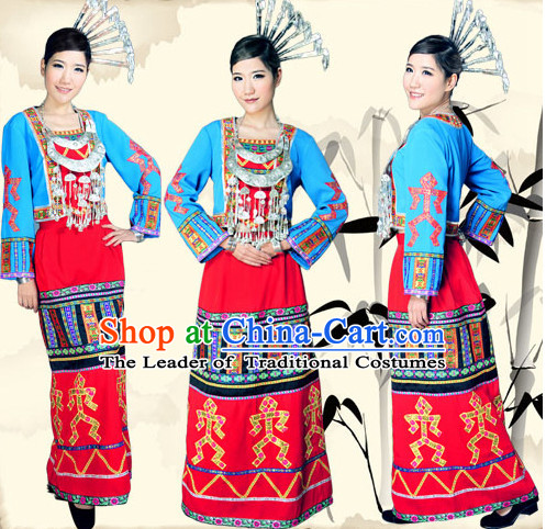 Chinese Folk Dance Ethnic Wear China Clothing Costume Ethnic Dresses Cultural Dances Costumes Complete Set