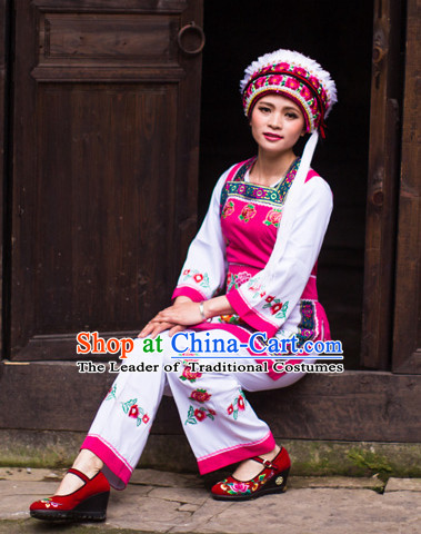 Chinese Hmong Folk Dance Ethnic Wear China Clothing Costume Ethnic Dresses Cultural Dances Costumes Complete Set