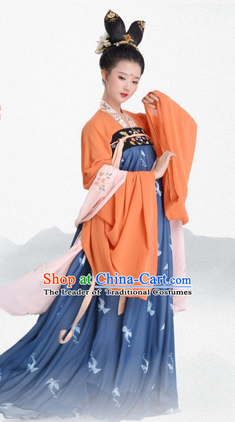 Chinese Traditional Tang Dynasty Clothing Hanfu Dresses Complete Set for Women