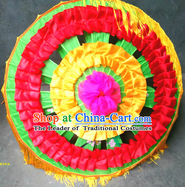 Traditional Dance Props Flower Umbrella Yangge Dancing Prop Folk Decorations for Men Women Adults Kids Children