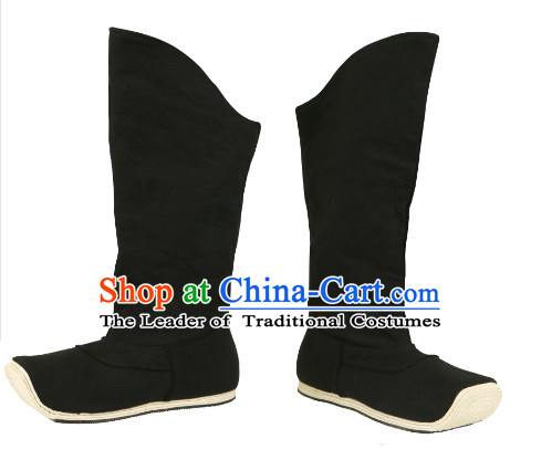 Chinese Ancient Style Black Handmade Fabric Boots Shoes for Men