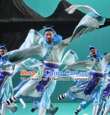 Chinese Classical Water Sleeve Dance Costumes Complete Set for Men