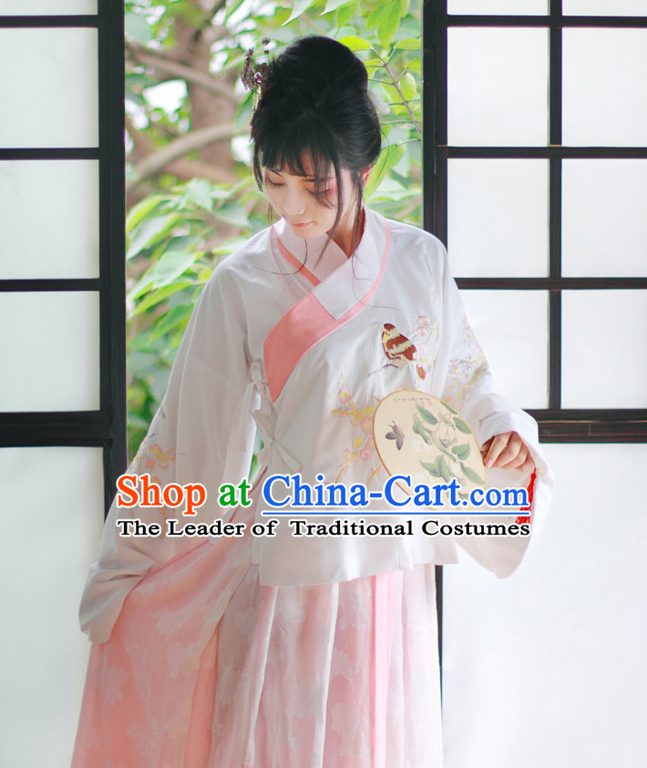 Traditional Chinese Pink Ming Dynasty Blouse and Skirt Complete Set for Women