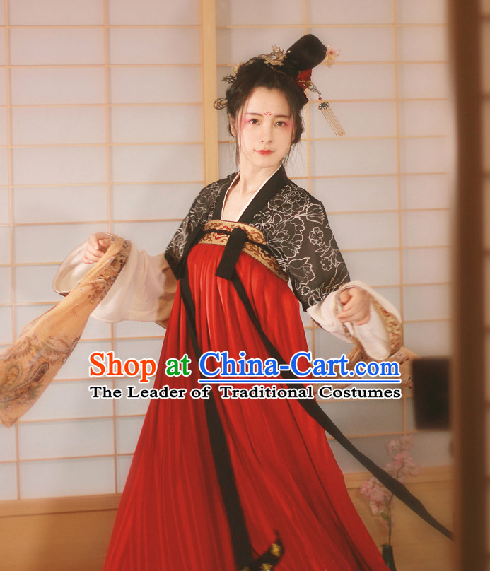 Traditional Chinese Tang Dynasty Noblewoman Garment Blouse Skirt and Hair Jewelry Complete Set for Women