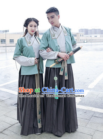 Traditional Chinese Han Dynasty Hanfu Suits Clothes Dresses Skirt and Hair Jewelry Complete Set for Men or Women