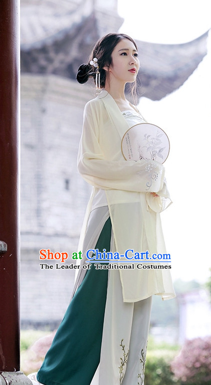 Traditional Chinese Song Dynasty Hanfu Suits Clothes Dresses Skirt and Hair Jewelry Complete Set for Women