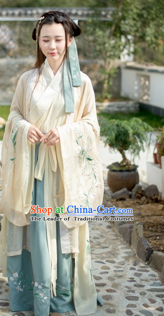 Traditional Chinese Ancient Han Dynasty Hanfu Garment Suits Dress Skirt and Hair Jewelry Complete Set for Women