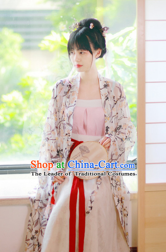 Traditional Chinese Han Dynasty Hanfu Suits Clothes Dresses Skirt and Hair Jewelry Complete Set for Women