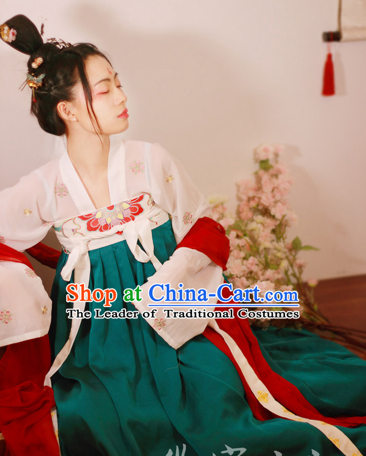 Traditional Chinese Tang Dynasty Hanfu Suits Clothes Dresses Skirt and Hair Jewelry Complete Set for Women