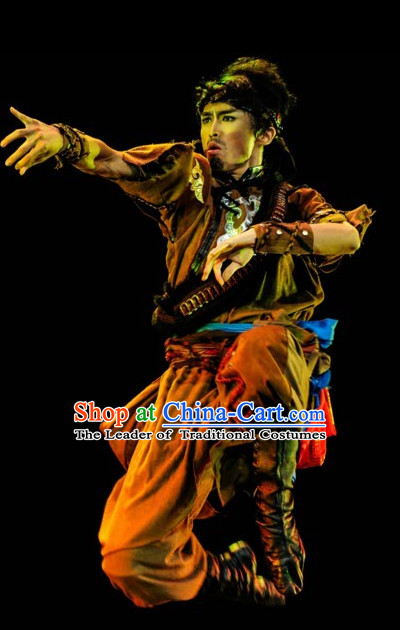 Ethnic Traditional Dance Costume Folk Dancing Costumes Traditional Chinese Dance Costumes Asian Dance Costumes Complete Set for Men