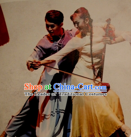 Chinese Classic Han Ethnic Dance Costume Folk Dancing Costumes Traditional Chinese Dance Costumes Asian Dancewear Complete Set for Men Boys