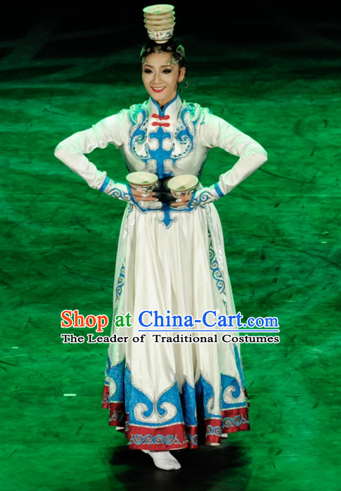 Chinese Ethnic Mongolian Dance Costume Folk Dancing Costumes Traditional Chinese Dance Costumes Asian Dancewear Complete Set for Women Girls