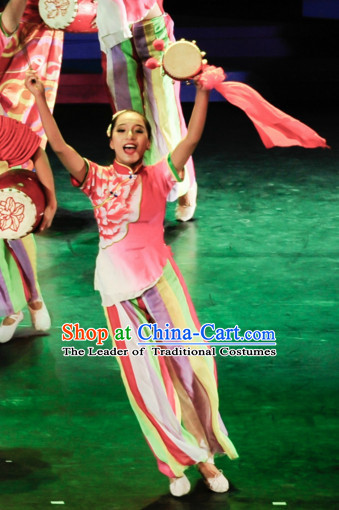 Chinese Classical Drum Dance Costume Folk Dancing Costumes Traditional Chinese Dance Costumes Asian Dancewear Complete Set for Teenagers