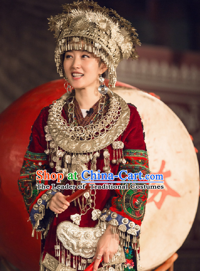 Chinese Miao Ethnic Dance Costume Folk Dancing Costumes Traditional Chinese Dance Costumes Asian Dancewear Complete Set for Women Girls