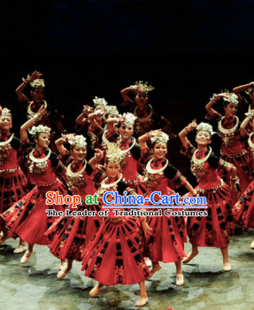 Chinese Classical Miao Dance Costume Folk Dancing Costumes Traditional Chinese Dance Costumes Asian Dancewear Complete Set for Men Boys