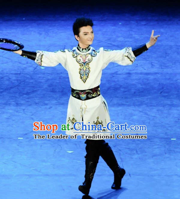 Chinese Classic Mongolian Dance Costume Folk Dancing Costumes Traditional Chinese Dance Costumes Asian Dancewear Complete Set for Men Boys