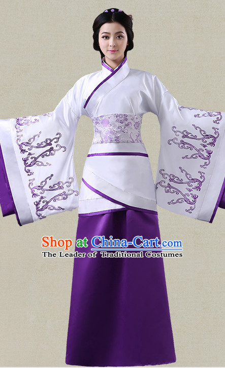 Purple Hanfu Clothing Custom Traditional Han Dynasty Chinese Hanfu Dreses Han Clothing Hanzhuang Historical Dress and Accessories Complete Set