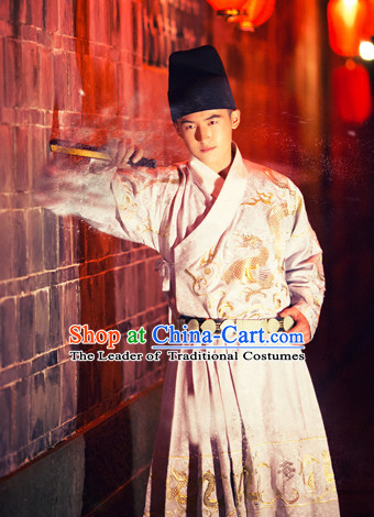 Hanfu Clothing Custom Traditional Chinese Ming Dynasty Hanfu Dreses Han Clothing Hanzhuang Historical Dress and Accessories Complete Set for Men