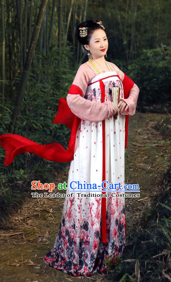 Tang Dynasty Women Han Fu/Hanfu Clothing Hanzhuang Historical Dress Historical Clothing and Accessories Complete Set for Women