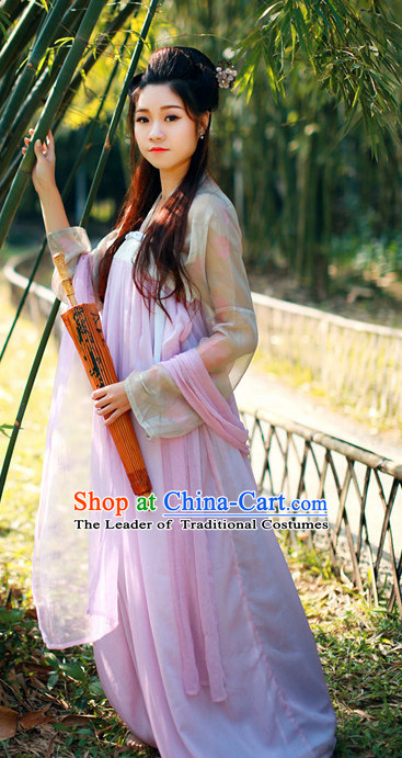 Ancient Tang Dynasty Women Han Fu/Hanfu Clothing Hanzhuang Historical Dress Historical Clothing and Accessories Complete Set for Women