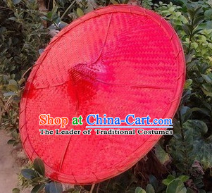 Red Traditional Chinese Dance Bamboo Hat for Adults and Children