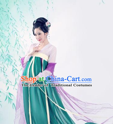 Chinese Traditional Dress Hanfu Costume China Kimono Robe Ancient Chinese Clothing National Costumes Gown Wear and Head Jewelry for Women