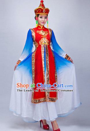 Chinese Ethnic Mongolian Dance Costumes Traditional Chinese Clothing Dress Dancewear Dance Clothes Outfits Dresses and Hat Complete Set for Women