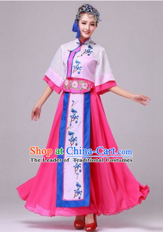 Chinese Fan Dance Costumes Traditional Chinese Clothing Dress Dancewear Dance Clothes Outfits Dresses and Hat Complete Set for Women