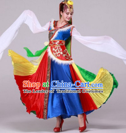Chinese Tibetan Dance Costumes Traditional Chinese Clothing Dress Dancewear Dance Clothes Outfits Dresses Complete Set for Women