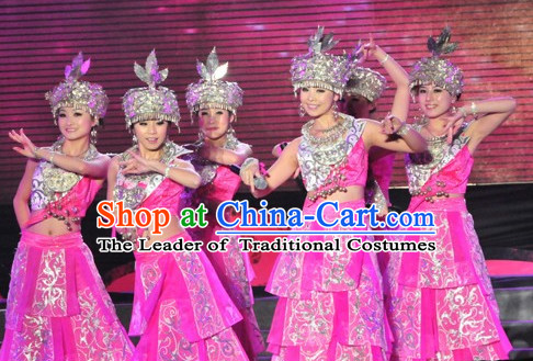Chinese Miao Folk Dance Ethnic Dresses Traditional Wear Clothing Cultural Dancing Costume Complete Set for Women